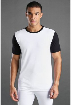 T-shirt coupe muscle fit colorblock MAN Active, Noir