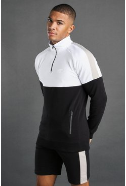 Black MAN Active 1/4 Zip Short Set