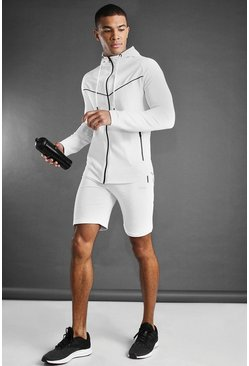 White MAN Active Hooded Short Set With Piping