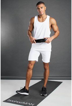 White Man Active Tank Top And Short Set