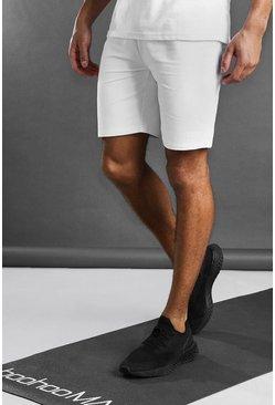 White MAN Active Mid Length Shorts