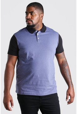 Charcoal Big and Tall Colour Block Polo