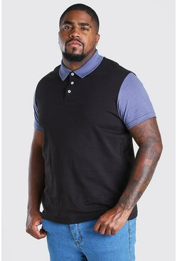 Black Big And Tall Colour Block Polo