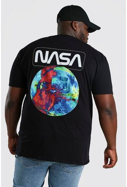 Black Plus Size NASA Print License T-Shirt