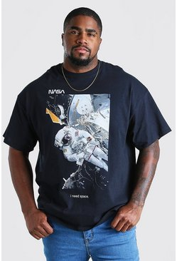 Black Big And Tall NASA Space Print License T-Shirt
