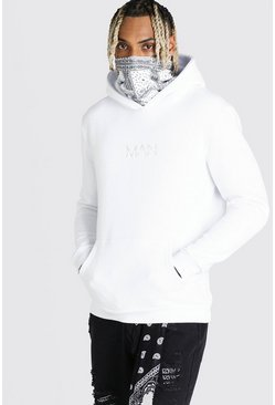 White MAN Official Hoodie With Bandana Snood