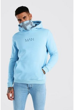 Blue MAN Official Hoodie With Bandana Snood