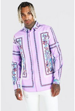 Lilac Long Sleeve Placement Print Shirt