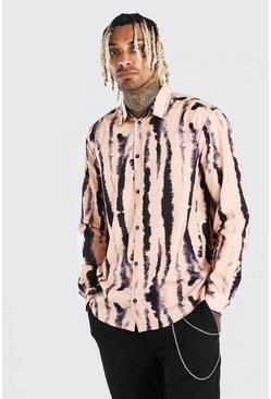 Black Long Sleeve Abstract Print Shirt