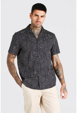 Black Short Sleeve Revere Collar Leopard Print Shirt