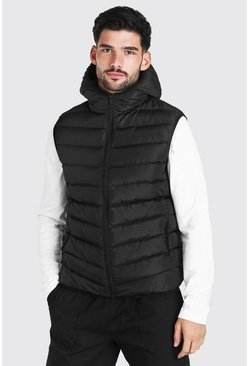 Black Quilted Zip Through Gilet With Hood