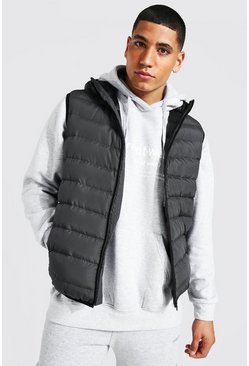 Mid grey Quilted Zip Through Gilet With Hood