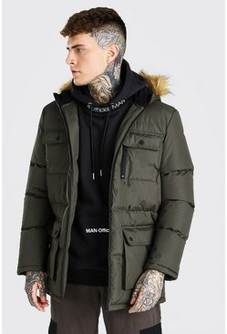 Khaki Multi Pocket Quilted Parka With Faux Fur Hood