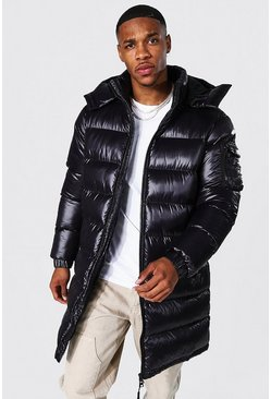 Black High Shine Hooded Longline Parka