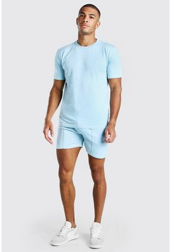 Light blue MAN Washed T-Shirt & Pintuck Short Set