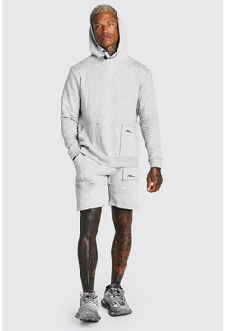 Grey marl MAN Signature Pocket Detail Short Tracksuit