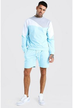 Light blue Colour Block Tracksuit