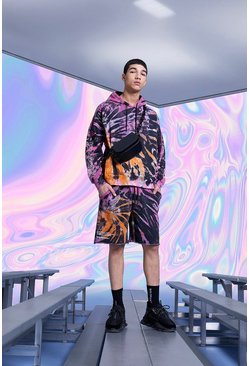 Multi MAN Official Tie Dye Short Tracksuit