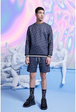 Black MAN All Over Printed Short Tracksuit With Rib