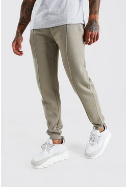 Khaki MAN Signature Jersey Pintuck Jogger With Zips