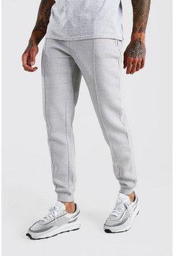Grey MAN Signature Jersey Pintuck Jogger With Zips