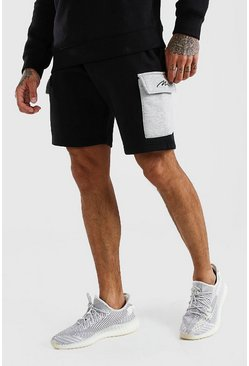 Black MAN Signature Contrast Cargo Jersey Shorts