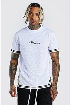 White MAN Signature Airtex T-Shirt With Tape Detail