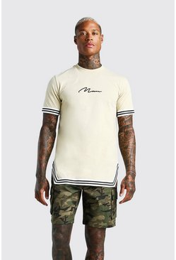 Taupe MAN Signature T-Shirt With Tape Detail