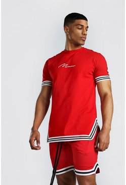 Red MAN Signature T-Shirt With Tape Detail