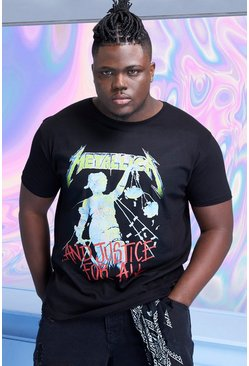 Black Plus Size Metallica Justice License T-Shirt