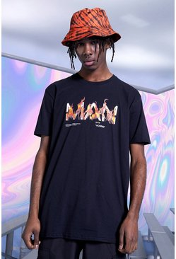 Black Oversized Original Flames Print T-Shirt