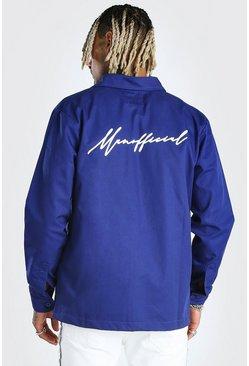 Blue Man Official Script Back Print Shirt Jacket