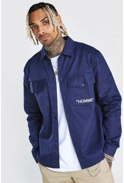 Navy Homme Print Shirt Jacket
