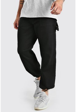 Black Loose Fit Cargo Jeans With Drawstring Hem
