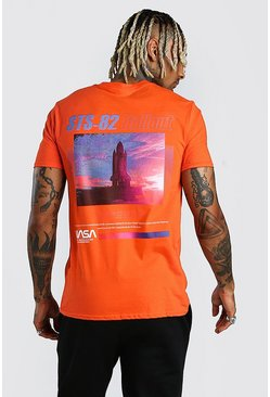 Orange NASA Rocket Front & Back Print License T-Shirt