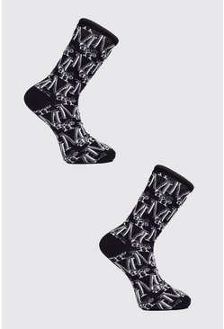 Black 2 Pack MAN Monogram Sock