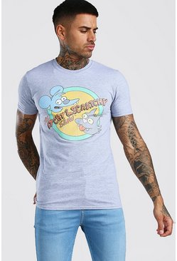 Grey Itchy And Scratchy Licensed T-Shirt