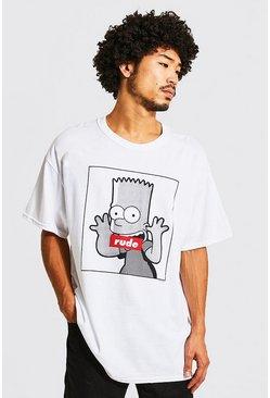 White Oversized Bart Simpsons Print T-Shirt