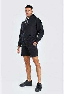 Black Hooded Short Tracksuit With Back Print