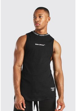 Black MAN Official Drop Armhole Tank With Rib
