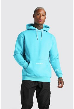 Blue MAN Official Printed Hoodie With Rib Detail