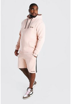 Dusky pink Plus Size Hooded Short Tape Tracksuit