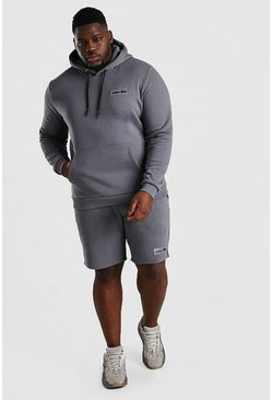 Slate Big And Tall Hooded Short Tape Tracksuit