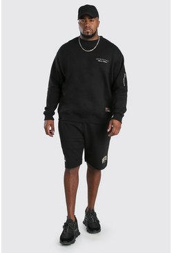 Black Big And Tall Unrestricted MAN Short Tracksuit