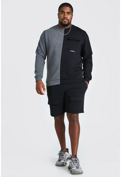 Black Big And Tall Spliced Utility Short Sweater Set