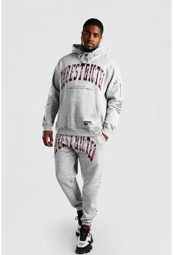 Grey marl Big And Tall Unrestricted Hooded Tracksuit