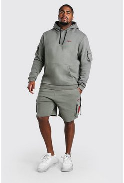 Sage Big And Tall MAN Utility Short Hooded Tracksuit