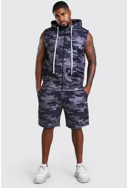 Camo Big And Tall Sleeveless Hoodie And Short Set