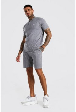 Ensemble polo à rayures et short signature MAN, Gris