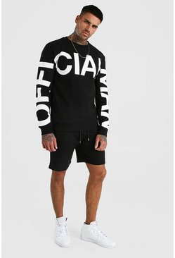 Black Official MAN Print Sweater Short Tracksuit